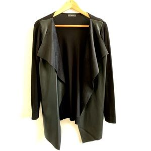 Zara Faux Leather Front Panel Cardigan Sz S